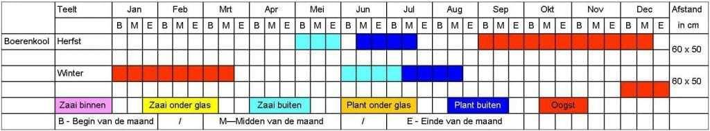 Boerenkool tabel