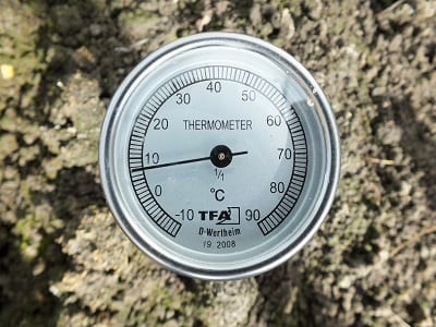 Compostthermometer in de grond